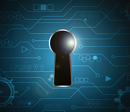 technology digital future abstract, cyber security concept background, keyhole lock circuit, vector illustration.