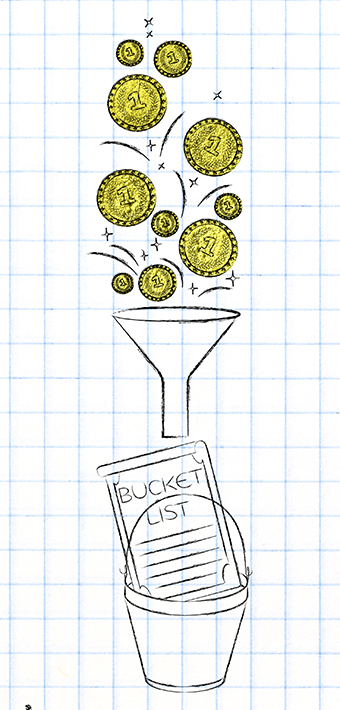 golden coins dropping into funnel above bucket list, concept of financing your dreams