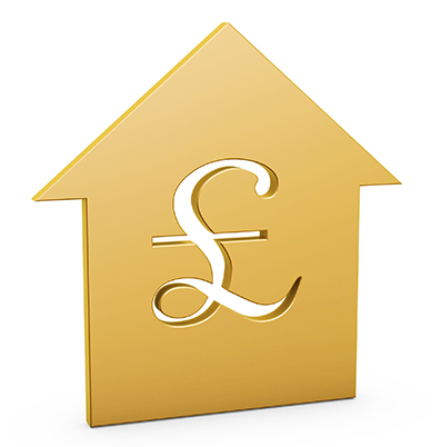golden Pound house symbol on white background