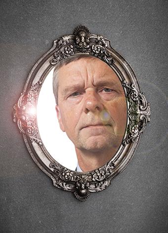 baroque, Victorian mirror on a gray wall
